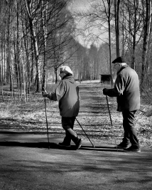 """48/100 -I lead, you follow -""""I forgive you not packing the skis into the car. -There is no snow anyway..."""" -Step in step for decades Names by Tea, Esa and Petra"""